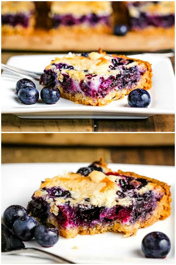 blueberry pie bars before and after taking a bite