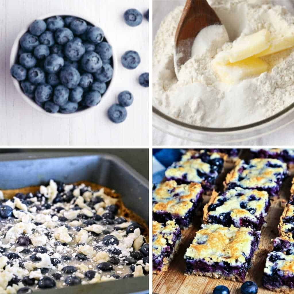 Blueberry Pie Bars process image collage