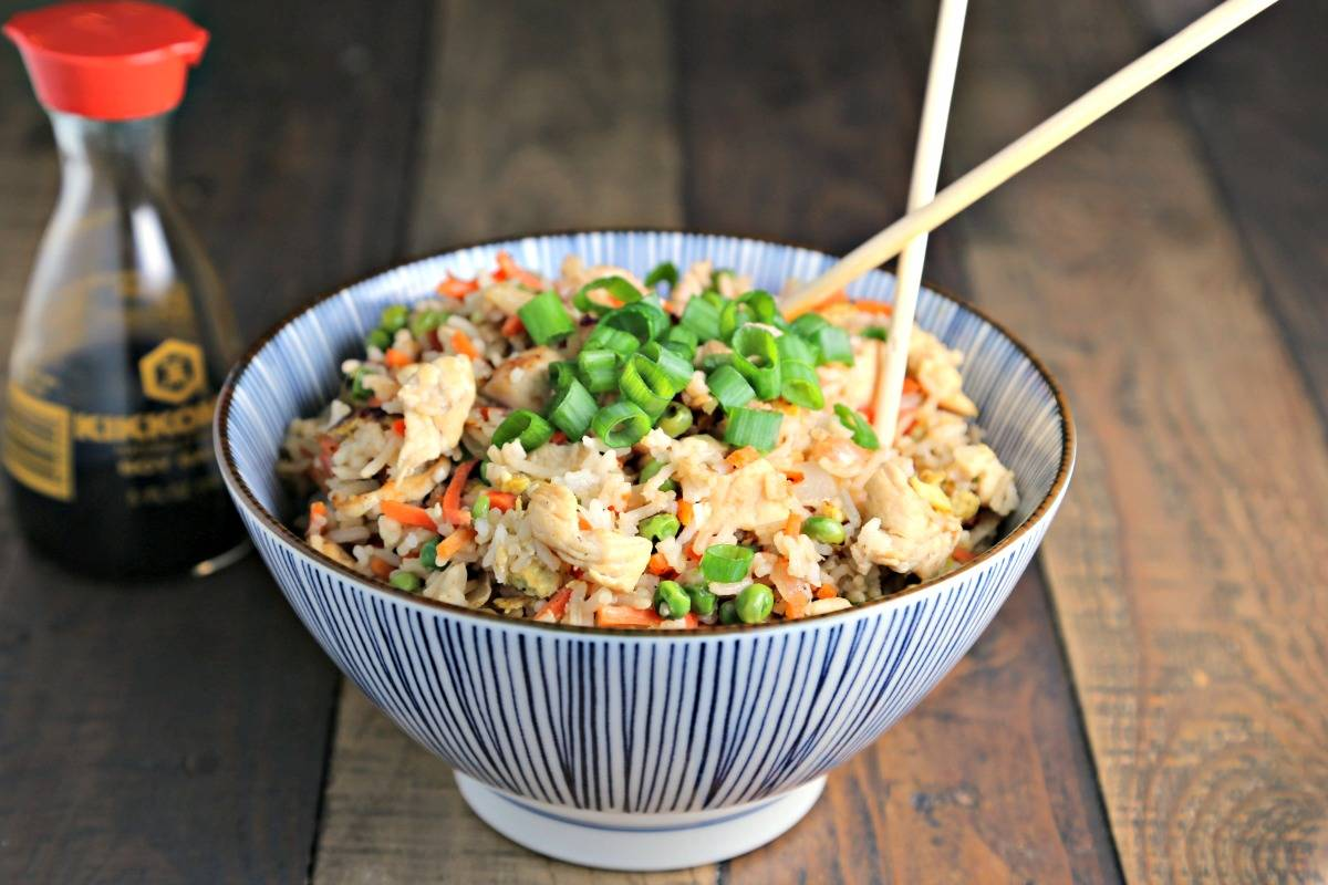 A bowl of Chicken Fried Rice on a table