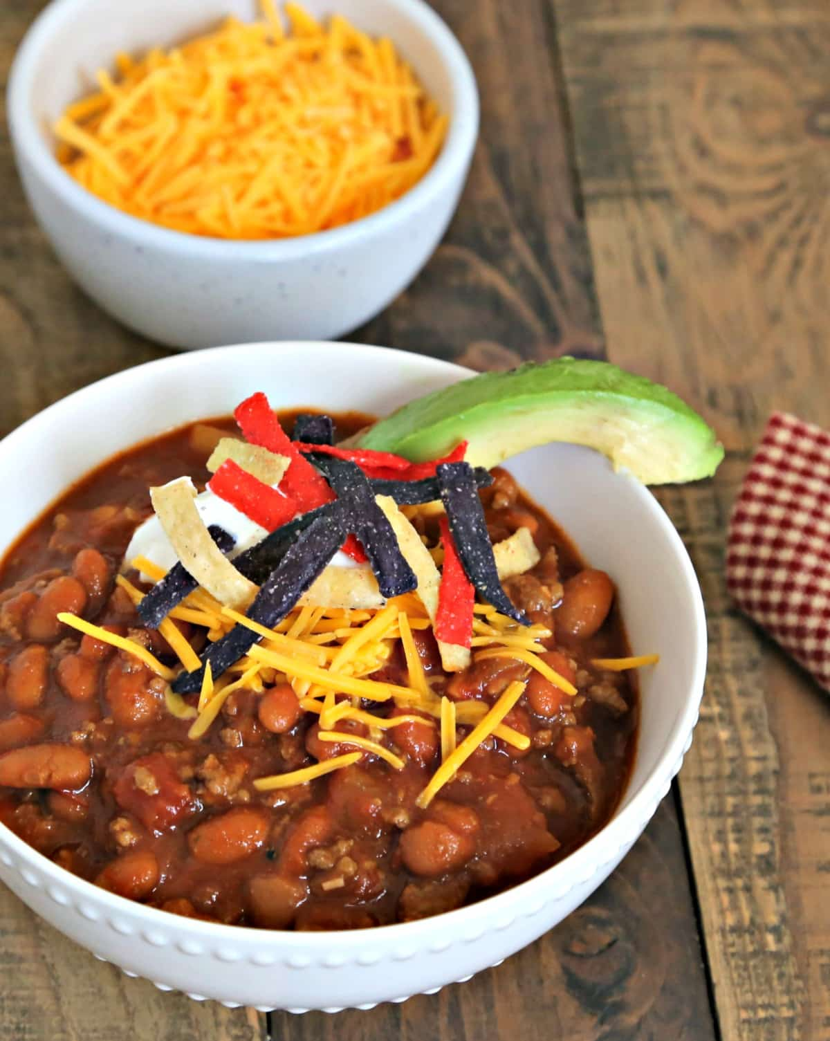 A bowl of Easy Homemade Red Chili on a table