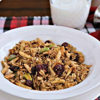A bowl of Ginger Spice Granola on a table