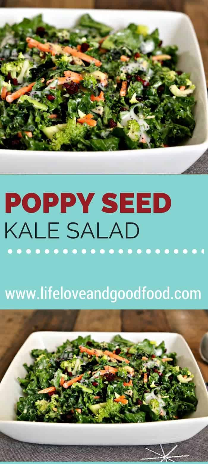 A bowl of Poppy Seed Kale Salad