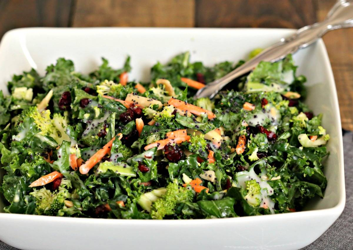 A bowl of salad, with Poppy Seed Kale Salad