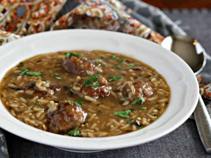 Pork Meatball and Wild Rice Soup