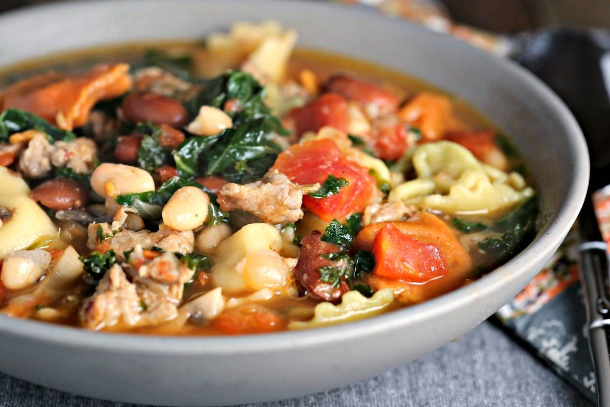 A bowl of Rustic Sausage Tortellini Soup