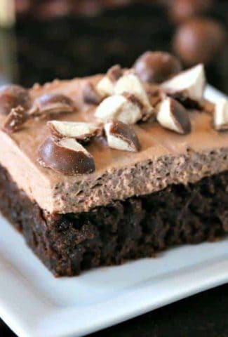A Malted Mousse Brownie on a white plate