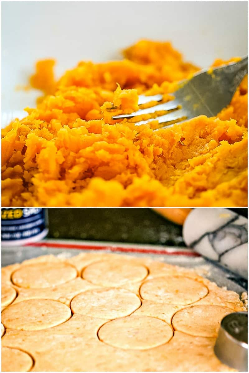 top photo - mashing sweet potatoes with a fork; bottom photo - biscuit dough with cutter on pastry board