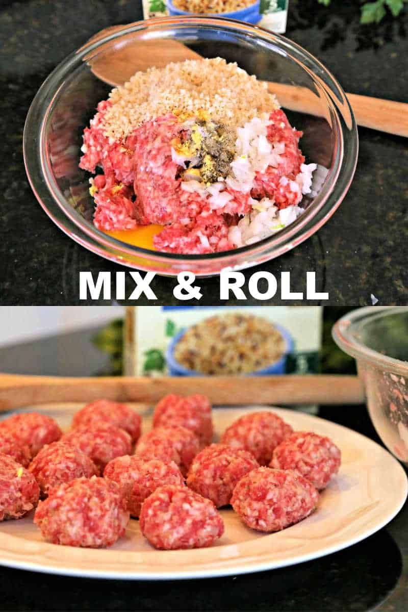 making meatballs for pork meatball and wild rice soup