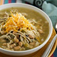 A bowl of soup, with White Chicken Chili Verde