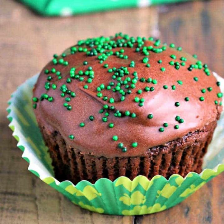 Mint Cream Filled Chocolate Cupcake