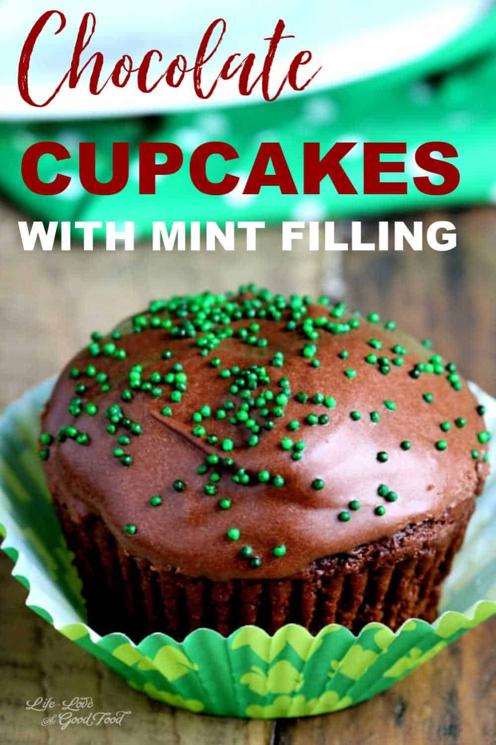 a Chocolate Cupcake with Mint Filling in a paper wrapper on a table