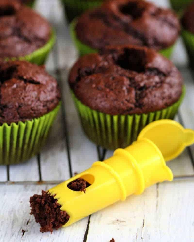 lemon juicer to cut holes in cupcakes