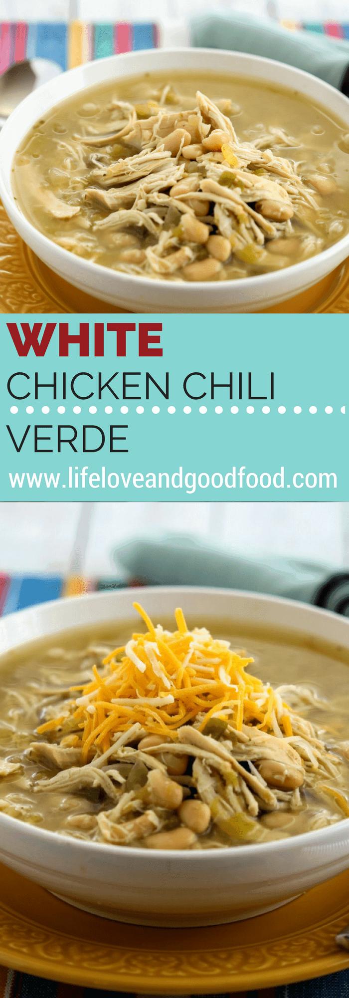 A bowl of White Chicken Chili Verde