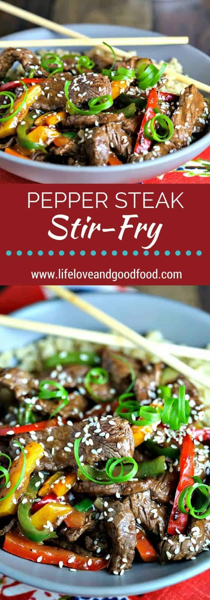 Pepper Steak Stir-Fry with fresh ginger and colorful bell peppers is a delicious dinner with a beautiful presentation on your dinner table! #stirfry #steak #peppersteak
