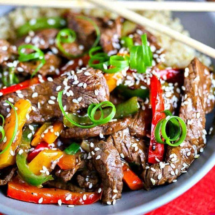 A plate of Pepper Steak Stir-Fry