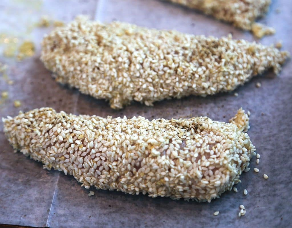 Breaded chicken ready for the oven