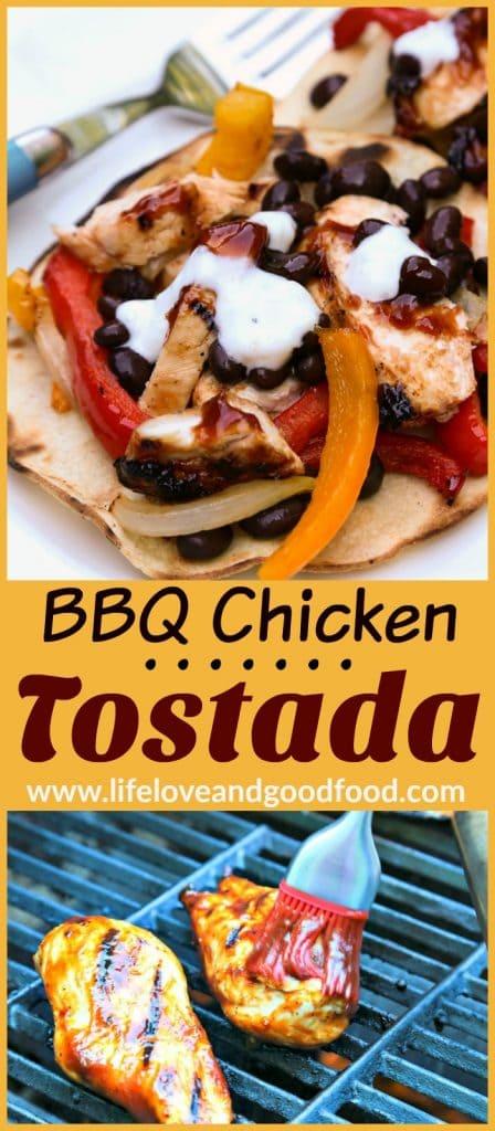 A close up of BBQ Chicken Tostadas