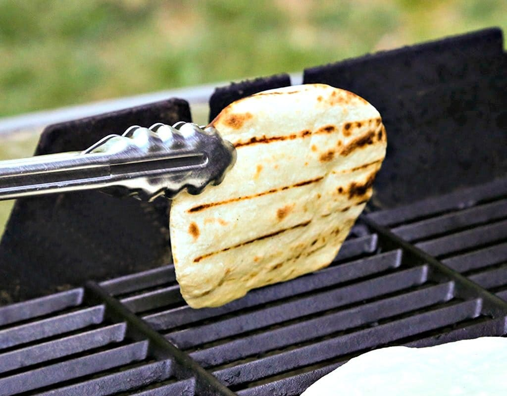 A tortilla on a grill