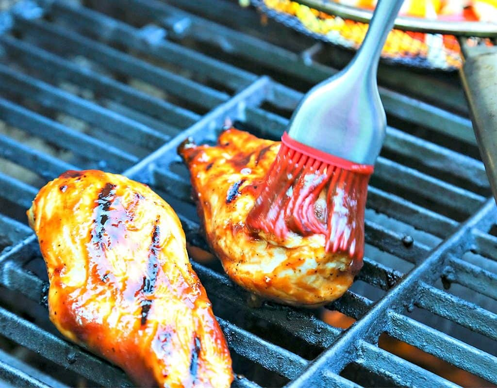 Chicken on a grill, with BBQ Chicken Tostadas