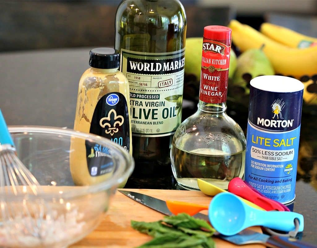 French Vinaigrette ingredients on a table