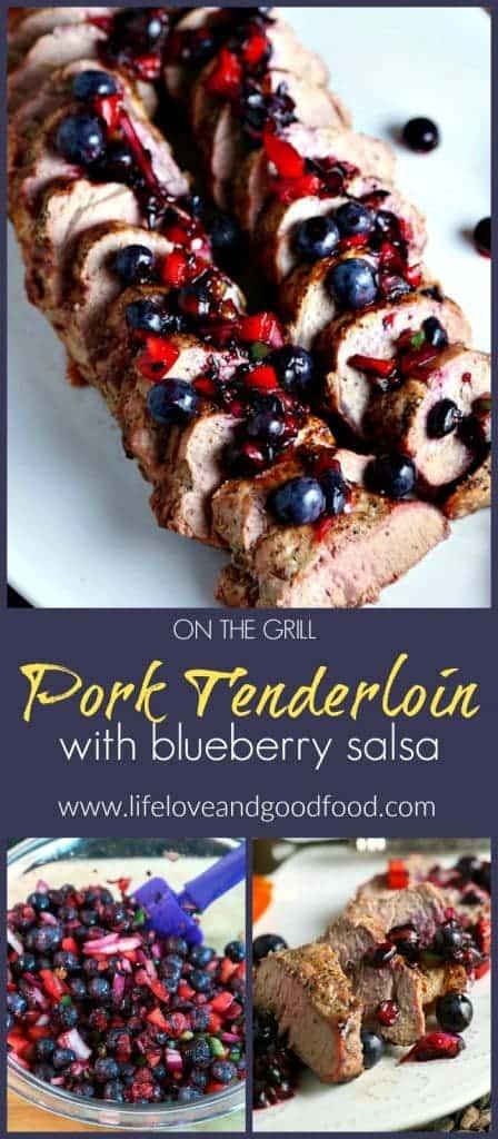 A piece of Grilled Pork Tenderloin with Blueberry Salsa
