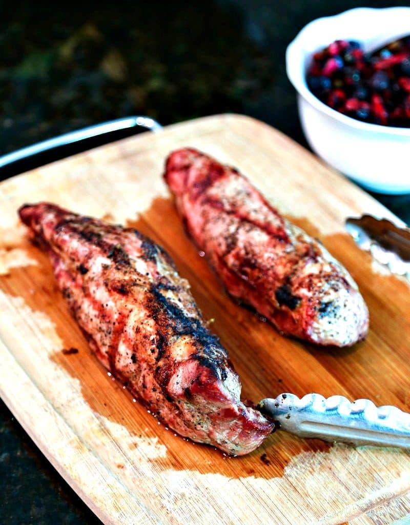 Grilled pork tenderloin on the cutting board