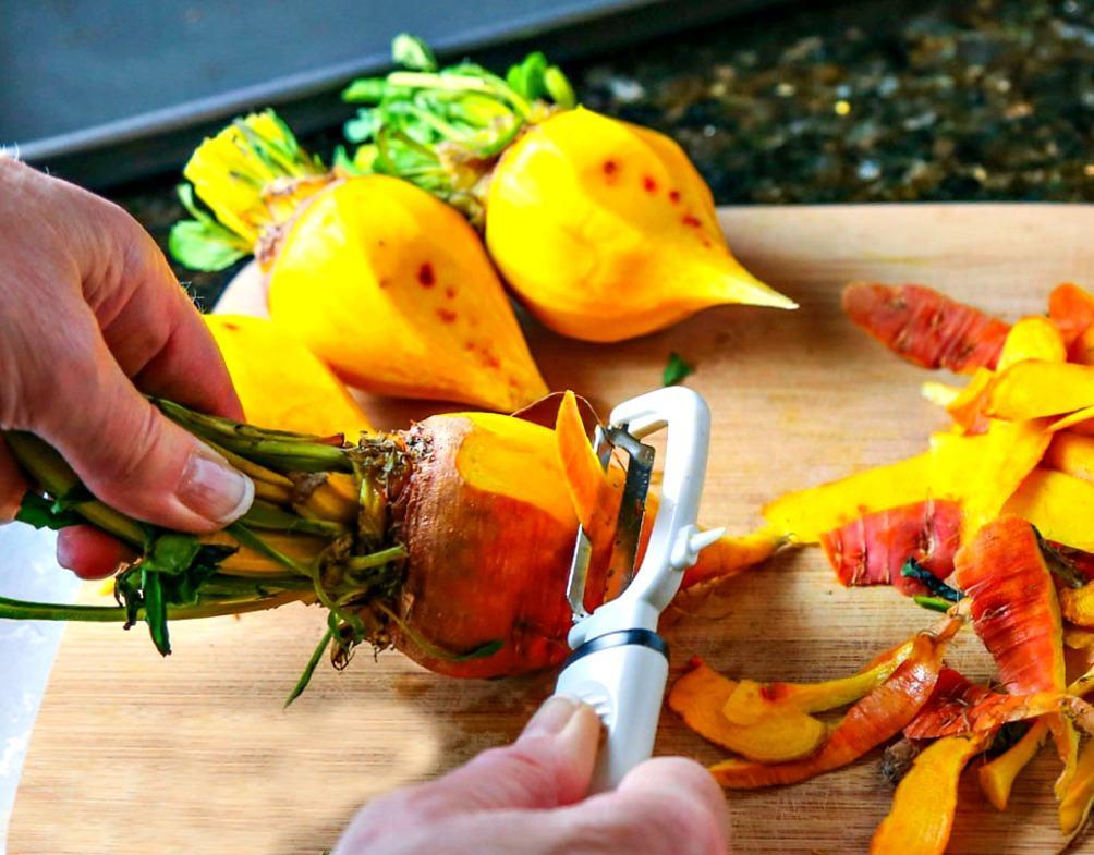 Peeling yellow beets