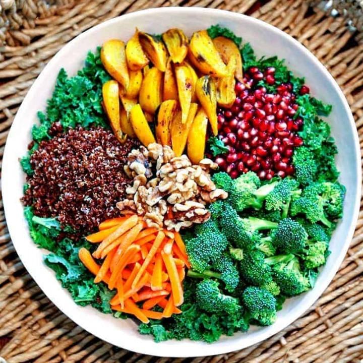 A bowl of fSuper Food Salad with Ginger Sesame Dressing