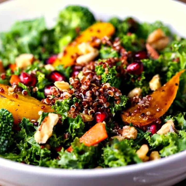 A bowl of fSuper Food Salad with Ginger Sesame Dressing
