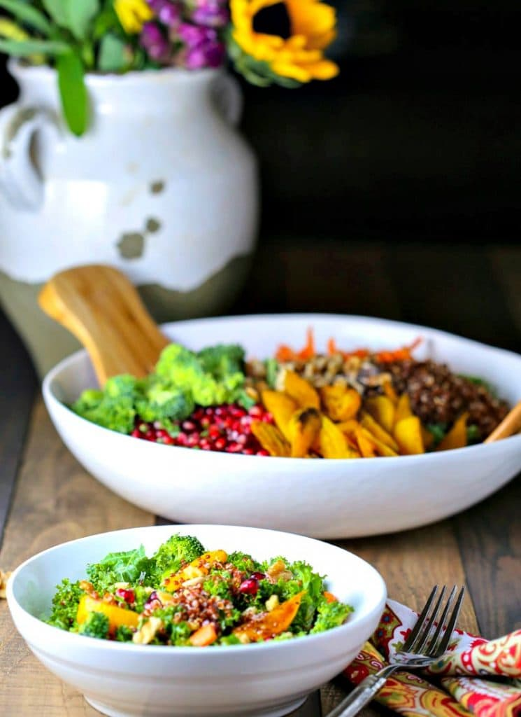 A bowl of fSuper Food Salad with Ginger Sesame Dressing on a table