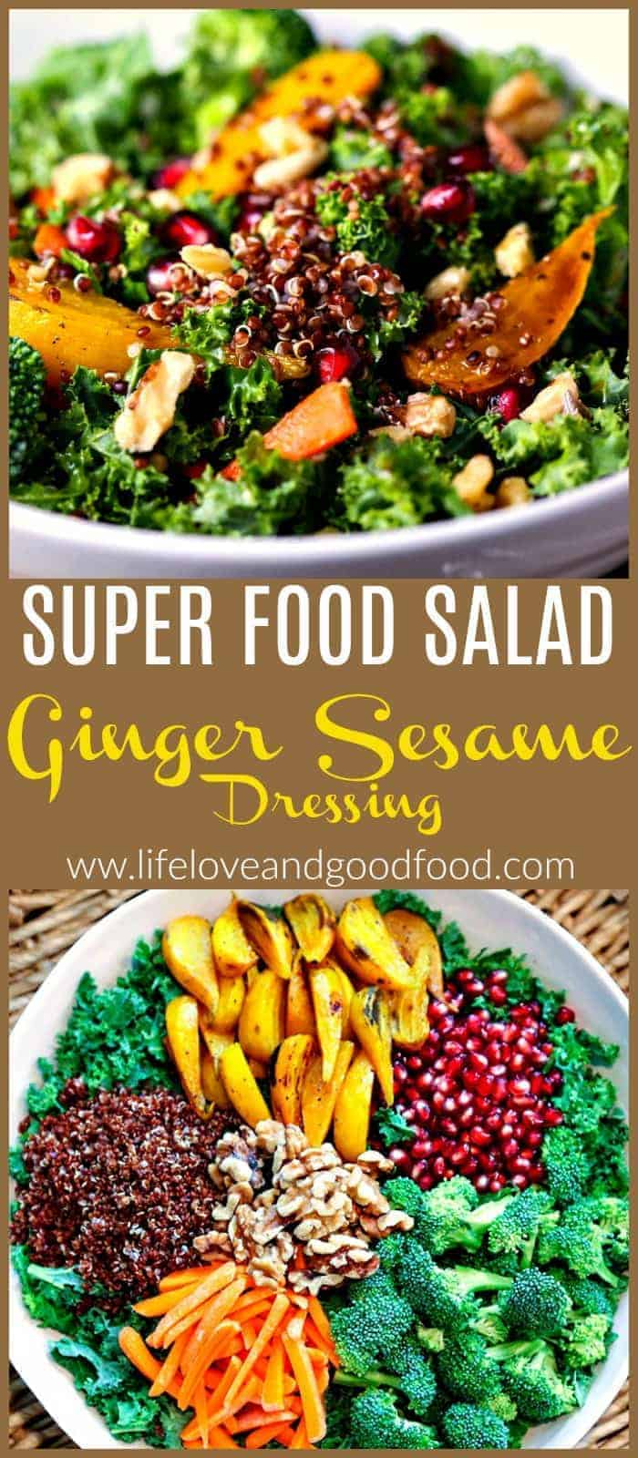 Super Food Salad with Ginger Sesame Dressing has amazing color, interesting ingredients, crunchy texture, and delicious taste! #salad #superfood #kalesalad