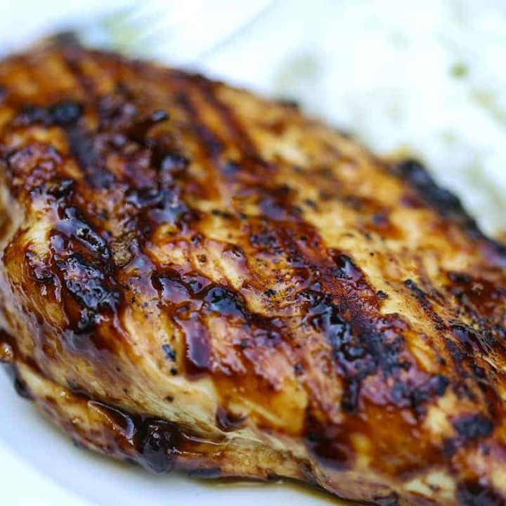 A close up of food, with grilled balsamic glazed chicken