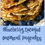 A stack of blueberry coconut oatmeal pancakes on a plate