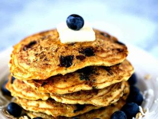 Blueberry Coconut Oatmeal Pancakes
