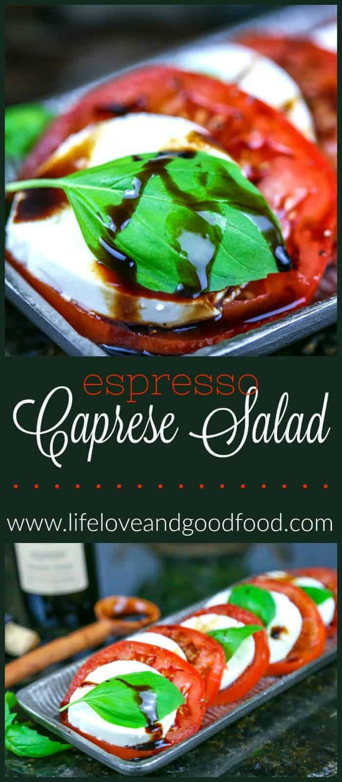 Espresso Caprese Salad is topped off with a thick, velvety aged espresso-infused balsamic vinegar for an indulging Summer appetizer.