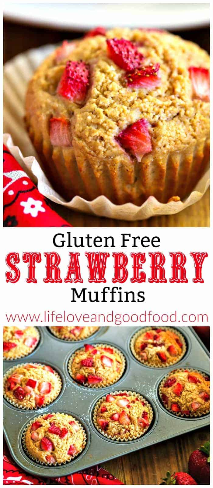 """Strawberries aren't just for dessert, they're also delicious in these breakfast Strawberry Muffins made with oat """"flour"""" and low-fat yogurt. #strawberrymuffins #glutenfree"""