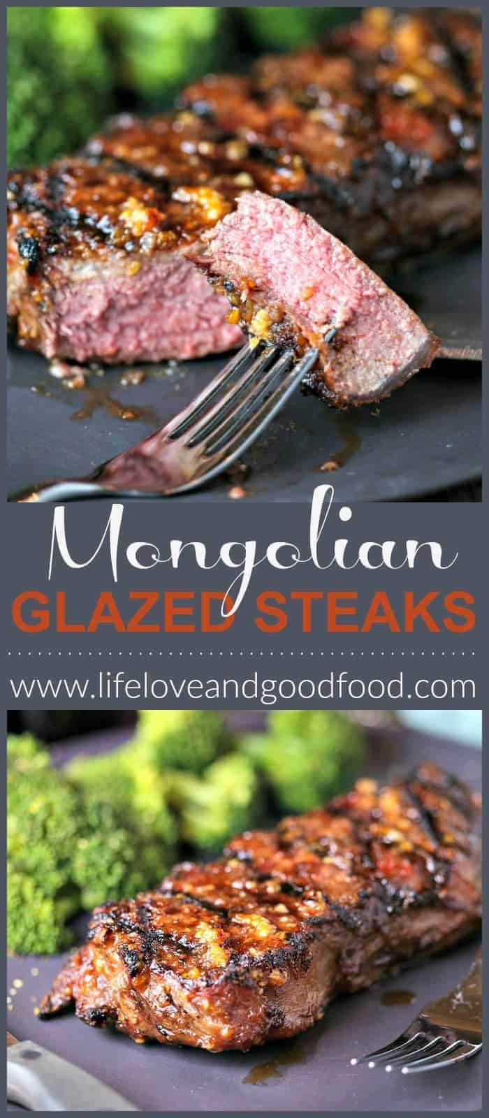 Mongolian Glazed Grilled Steak has a thin, crispy coating and a tangy barbecue glaze. #steak #beef #beefitswhatsfordinner #grilling #recipe #dinnerideas