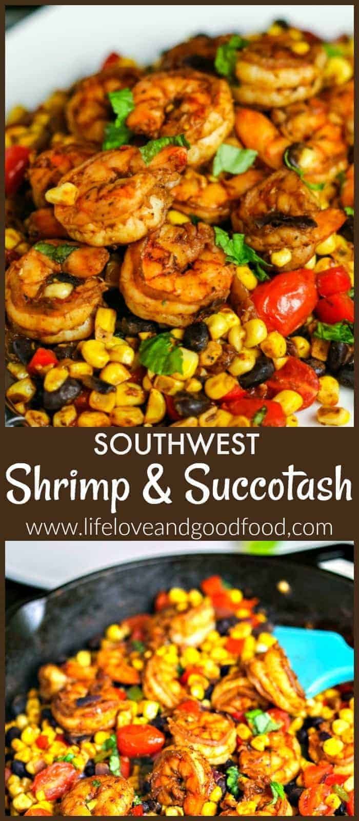Southwest Shrimp and Succotash made with fresh corn and black beans is a fresh, healthy, and easy dinner with a TexMex twist. #dinner #shrimp #succotash