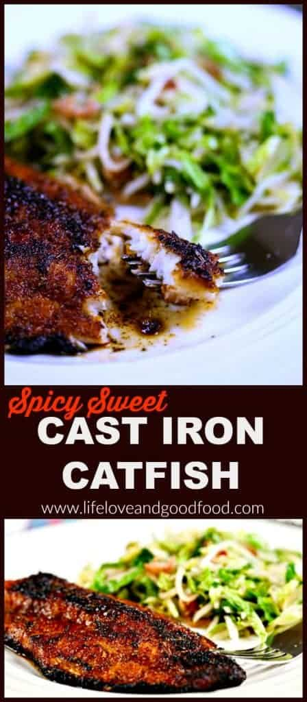 A piece of spicy sweet cast iron catfish on a fork