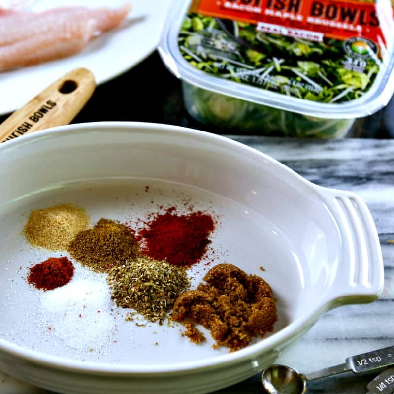 spices on a plate for spicy sweet cast iron catfish