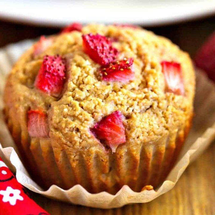 A close up of strawberry muffins