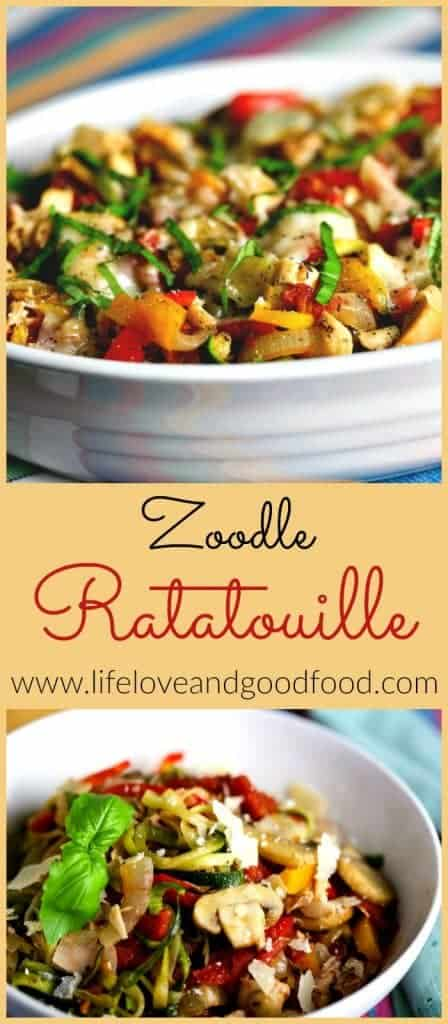 A close up of a bowl of Zoodle Ratatouille