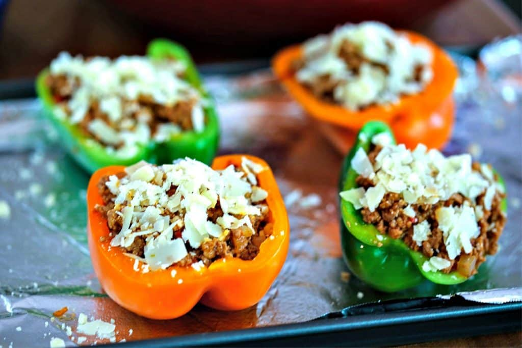 A close up of BBQ Turkey Stuffed Peppers ready for the oven