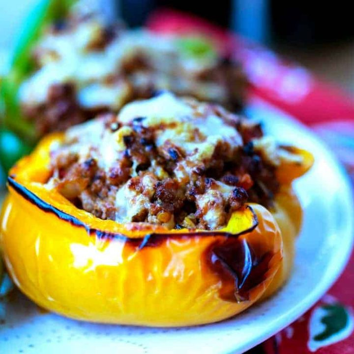 A close up of BBQ Turkey Stuffed Peppers