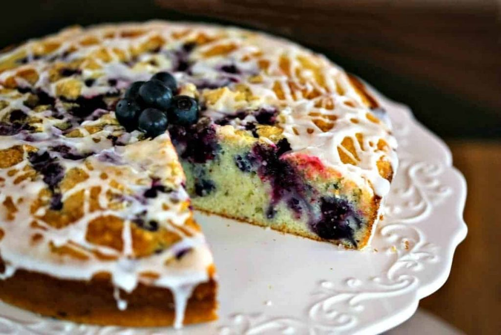 Blueberry Coffee Cake on a plate