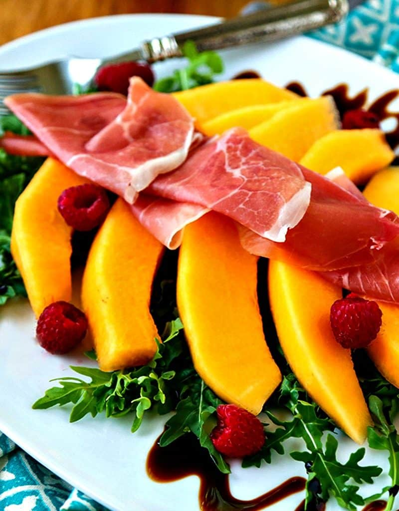 Antipasti on a plate, with Cantaloupe and Prosciutto