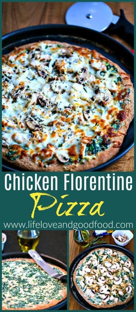 A chicken florentine pizza in a pan