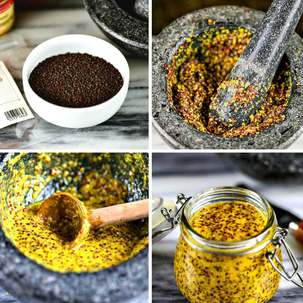collage of images for homemade stone-ground mustard: mustard seeds, mortar and pestle, mustard in a jar