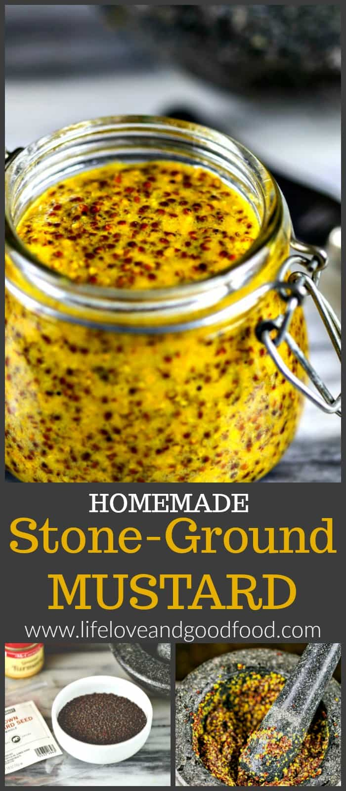 Use a mortar and pestle to crush whole mustard seeds to make spicy, delicious Homemade Stone-Ground Mustard for sandwiches, burgers, and vinaigrettes.