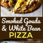 A close up of a slice of  Smoked Gouda and White Bean Pizzada